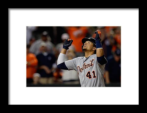 Ninth Inning Framed Print featuring the photograph Victor Martinez by Patrick Mcdermott