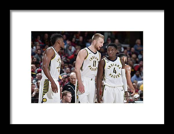 Nba Pro Basketball Framed Print featuring the photograph Victor Oladipo and Domantas Sabonis by David Liam Kyle