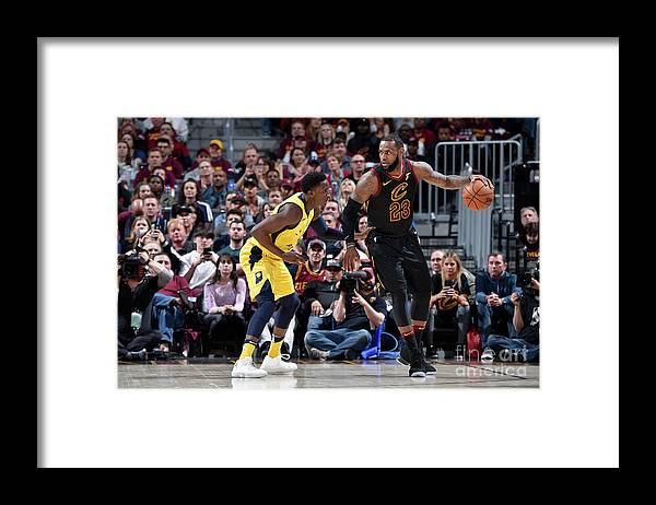 Playoffs Framed Print featuring the photograph Victor Oladipo and Lebron James by David Liam Kyle