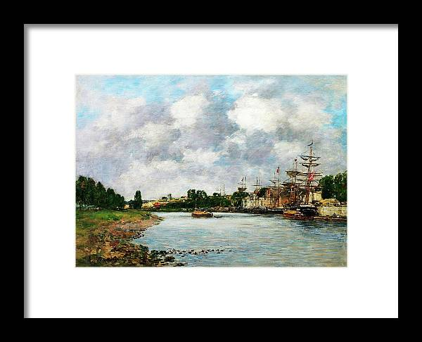 View Of The Port Of Saint Framed Print featuring the painting View Of The Port Of Saint, Valery-sur-somme - Digital Remastered Edition by Eugene Louis Boudin