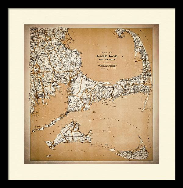 Vintage Map of Cape Cod and Vicinity Warm Sepia  by Carol Japp