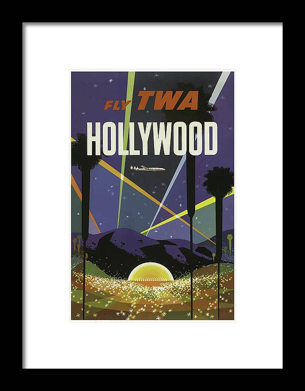 Vintage Framed Print featuring the mixed media Vintage Travel Poster Hollywood California by Movie Poster Prints
