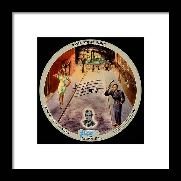 Vogue Picture Record Framed Print featuring the digital art Vogue Record Art - R 707 - P 7, Blue Logo - Square Version by John Robert Beck