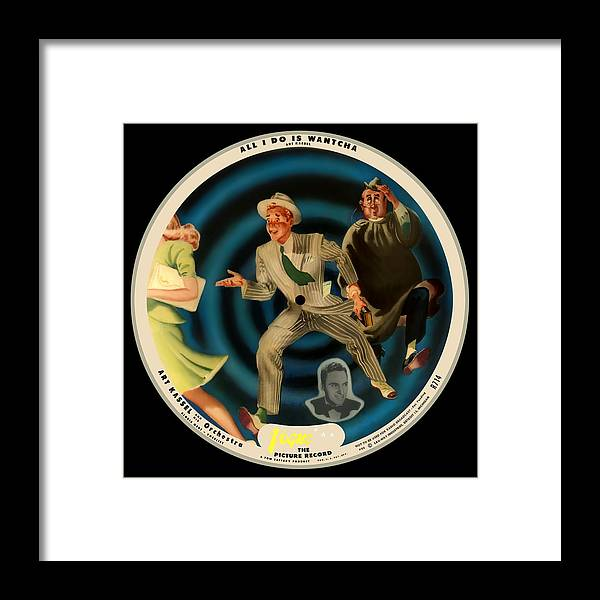 Vogue Picture Record Framed Print featuring the digital art Vogue Record Art - R 714 - P 22, Yellow Logo - Square Version by John Robert Beck