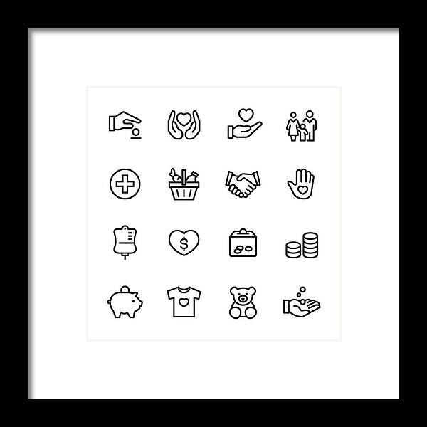 Charity Benefit Framed Print featuring the drawing Volunteer and Charity - outline icon set by Lushik