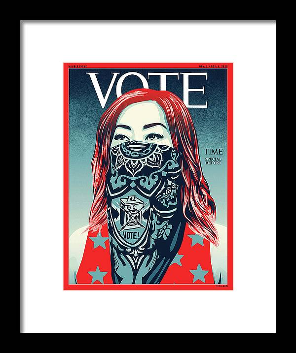 2020 Us Presidential Election Framed Print featuring the photograph Vote 2020 by Illustration by Shepard Fairey for TIME
