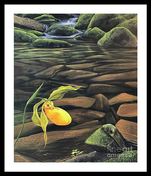 Forest Stream Framed Print featuring the painting Wade in the Water by Hunter Jay