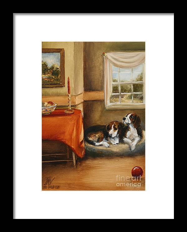 Beagle Framed Print featuring the painting Waiting For The Mistress by Stella Violano