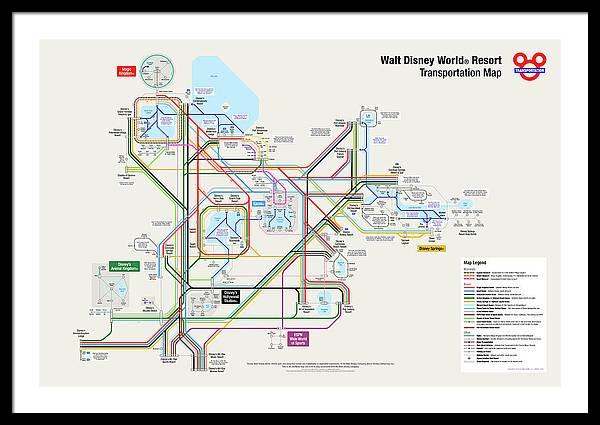 Walt Disney World Framed Print featuring the digital art Walt Disney World Resort Transportation Map by Arthur De Wolf