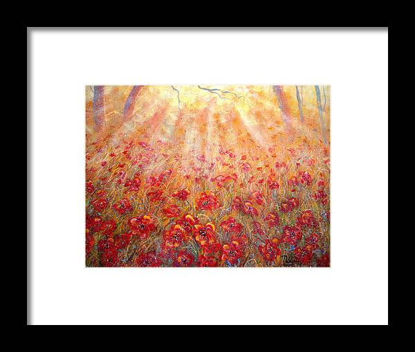 Landscape Framed Print featuring the painting Warm Sun Rays by Natalie Holland
