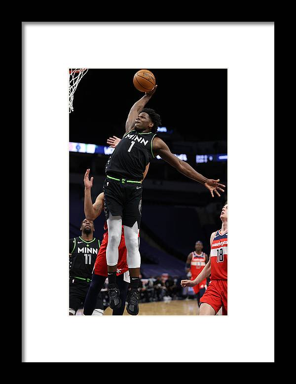 Nba Pro Basketball Framed Print featuring the photograph Washington Wizards v Minnesota Timberwolves by Jordan Johnson
