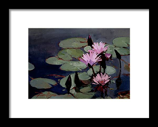 Water Lily Paintings Framed Print featuring the painting Water Trio - Water Lilies by Betty Jean Billups