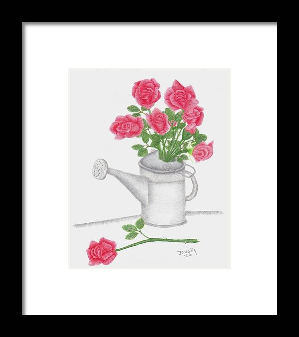 Rose Framed Print featuring the drawing Watering Can With Red Roses by Dusty Reed