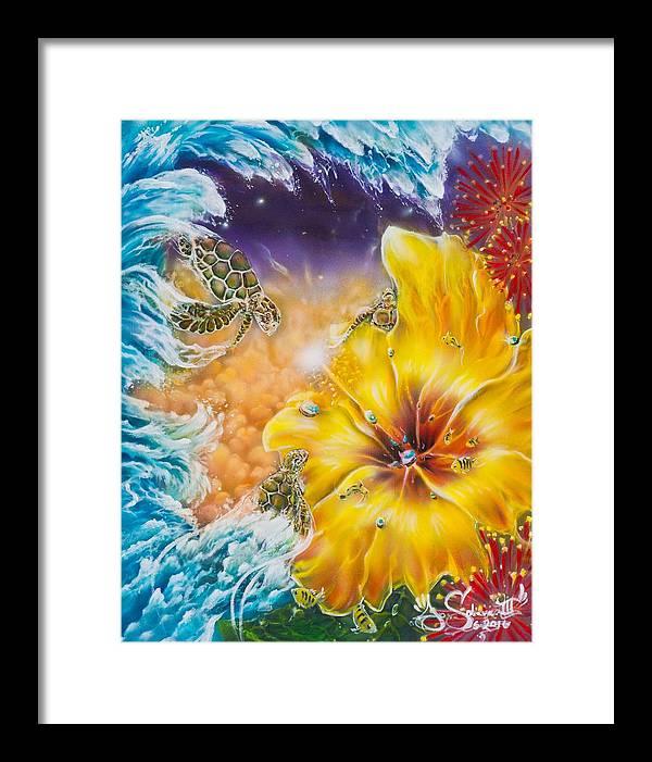 Aloha! Honu Hawaii Art Hibiscus Coral Reefs Flowers Floral Reefs Framed Print featuring the painting Wave of the Honu by Joel Salinas III