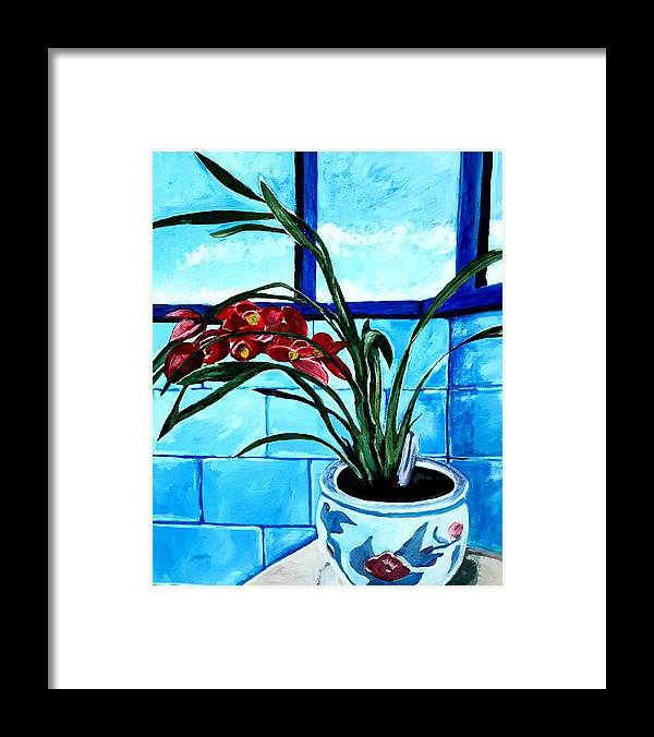 Still Life Framed Print featuring the painting Welcome Flower by Andrew Johnson