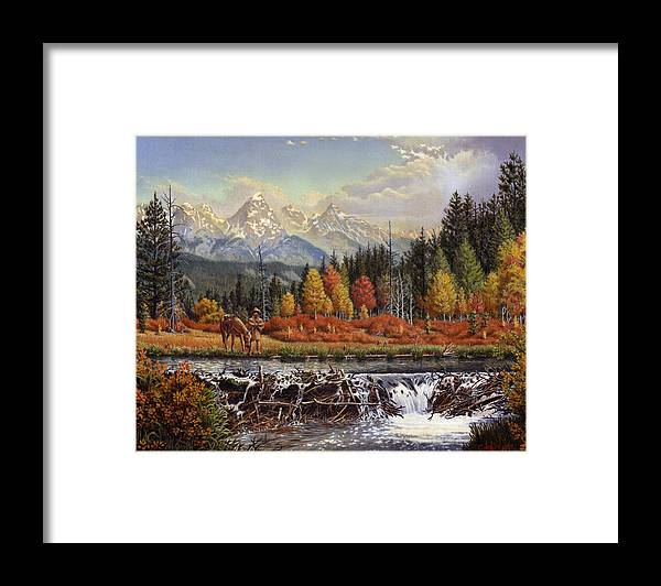 Western Mountain Landscape Framed Print featuring the painting Western Mountain Landscape Autumn Mountain Man Trapper Beaver Dam Frontier Americana Oil Painting by Walt Curlee