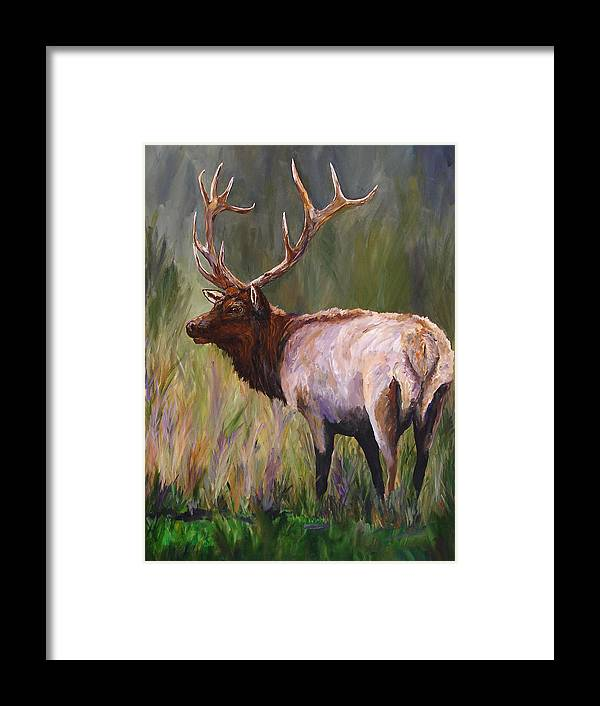 Elk Wildlife Art Framed Print featuring the painting Whapiti - ELK Now Avaliable by Mary Jo Zorad
