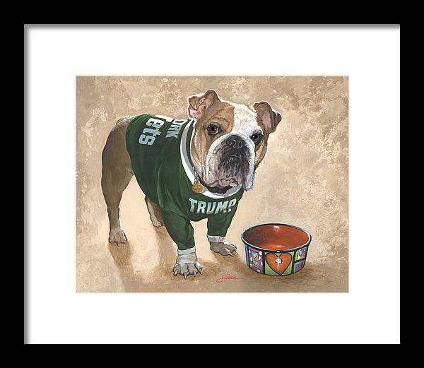 English Bulldog Framed Print featuring the painting Whats For Dinner by Harold Shull