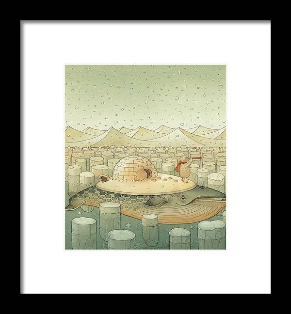 Christmas Whale Polar Bear Winter White Framed Print featuring the painting While and Polar Bear by Kestutis Kasparavicius