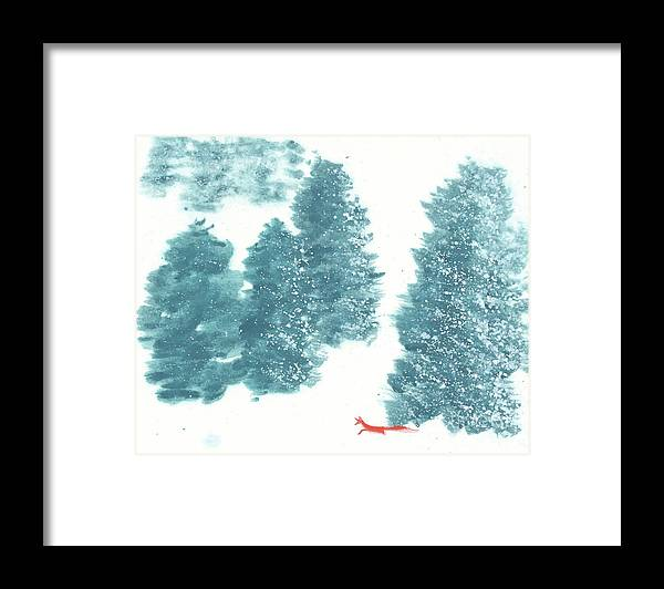 A Red Fox Wanders In A Snowy Forest. A Whisper Of The Great Silence Can Be Heard In The Winter Air. It's A Simple Contemporary Chinese Brush Painting On Rice Paper. Framed Print featuring the painting Whisper of the Forest II by Mui-Joo Wee
