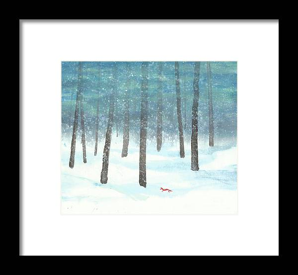 A Red Fox Wanders In A Snowy Forest. A Whisper Of The Great Silence Can Be Heard In The Winter Air. It's A Simple Contemporary Chinese Brush Painting On Rice Paper. Framed Print featuring the painting Whisper of the Forest by Mui-Joo Wee
