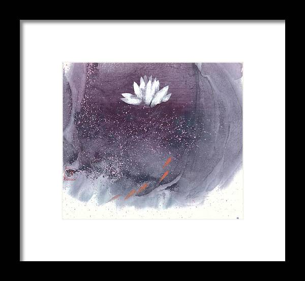 A Brilliant White Lotus In A Pond With Delightful Fish. It's A Simple Chinese Brush Painting On Rice Paper. Framed Print featuring the painting White Lotus I by Mui-Joo Wee