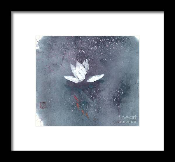 A Brilliant Lotus In A Pond With Delightful Fish. It's A Simple Chinese Brush Painting On Rice Paper. Framed Print featuring the painting White Lotus II by Mui-Joo Wee