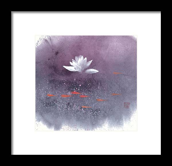 A Brilliant Lotus In A Pond With Delightful Fish. It's A Simple Chinese Brush Painting On Rice Paper. Framed Print featuring the painting White Lotus III by Mui-Joo Wee