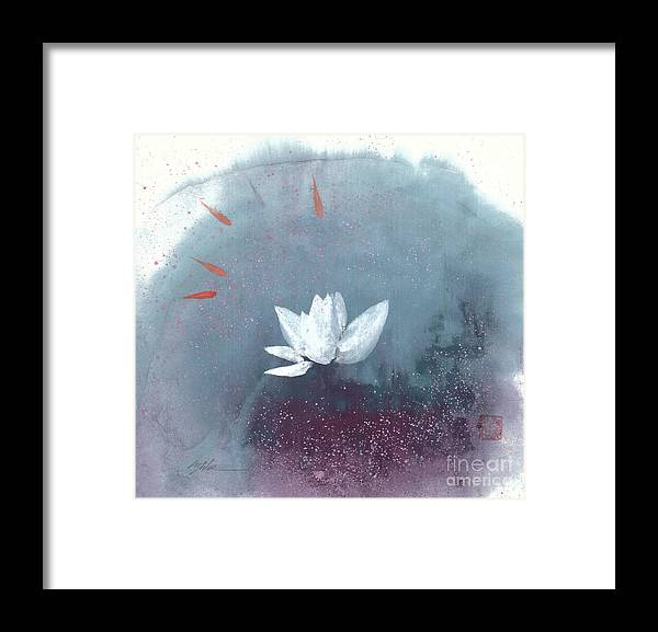 A Brilliant Lotus In A Pond With Delightful Fish. It's A Simple Chinese Brush Painting On Rice Paper. Framed Print featuring the painting White Lotus IV by Mui-Joo Wee