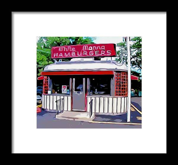 White Manna Burgers Framed Print featuring the mixed media White Manna Burgers by Bellino