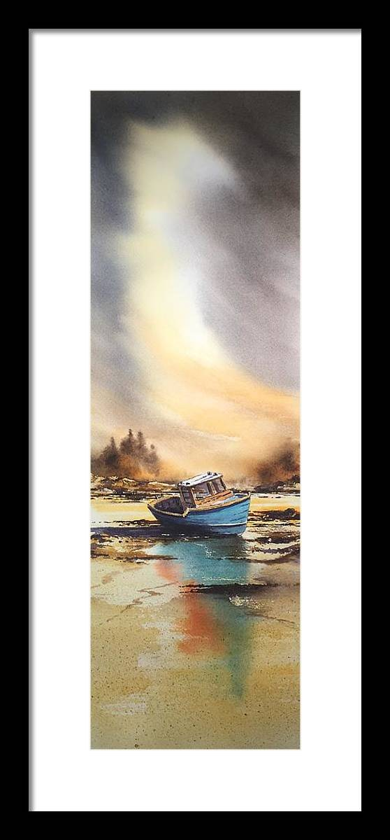 Boat Framed Print featuring the painting Blue boat by Roland Byrne