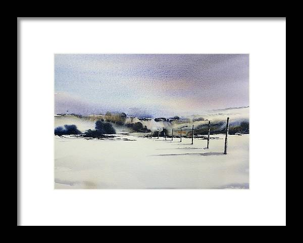 Snow Framed Print featuring the painting Wicklow Snowfalls by Roland Byrne