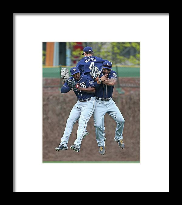 American League Baseball Framed Print featuring the photograph Wil Myers, Will Venable, and Matt Kemp by Jonathan Daniel