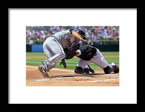 Baseball Catcher Framed Print featuring the photograph Wilin Rosario and Brian Dozier by Justin Edmonds