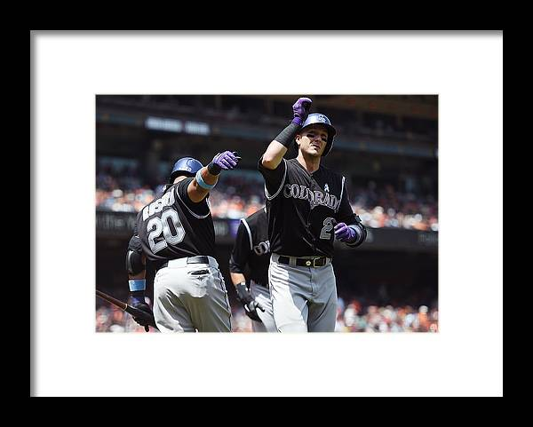 San Francisco Framed Print featuring the photograph Wilin Rosario and Troy Tulowitzki by Thearon W. Henderson