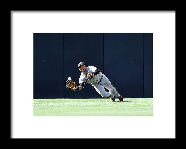 Ball Framed Print featuring the photograph Will Venable and Gregor Blanco by Denis Poroy