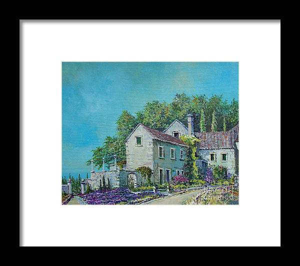 Original Painting Framed Print featuring the painting Village Vista by Sinisa Saratlic