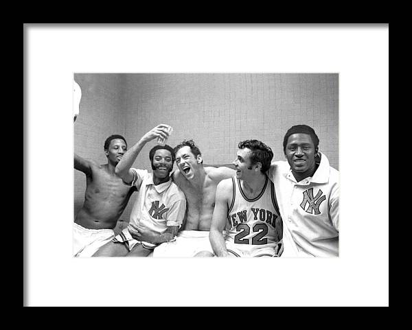 Playoffs Framed Print featuring the photograph Willis Reed, Bill Bradley, And Walt Frazier by New York Daily News Archive
