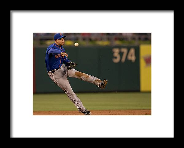 Second Inning Framed Print featuring the photograph Wilmer Flores by Mitchell Leff