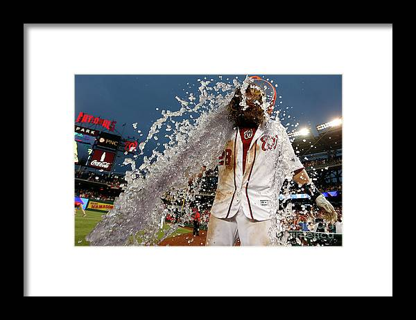 Three Quarter Length Framed Print featuring the photograph Wilson Ramos and Jayson Werth by Matt Hazlett