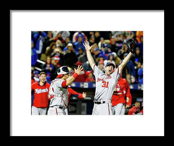 People Framed Print featuring the photograph Wilson Ramos and Max Scherzer by Al Bello