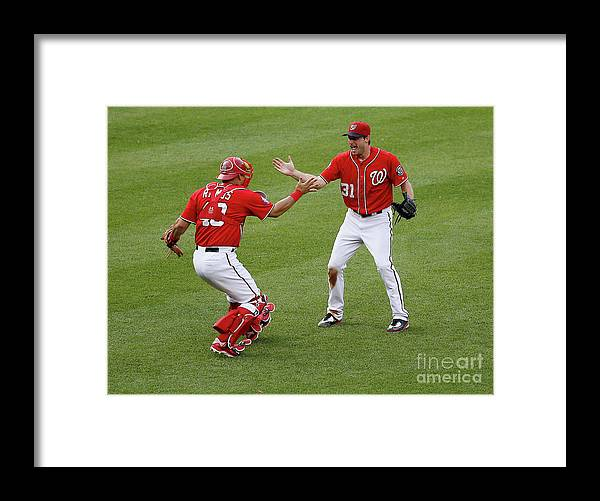 Baseball Catcher Framed Print featuring the photograph Wilson Ramos and Max Scherzer by Rob Carr
