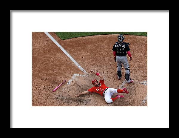 People Framed Print featuring the photograph Wilson Ramos and Ryan Zimmerman by Patrick Smith