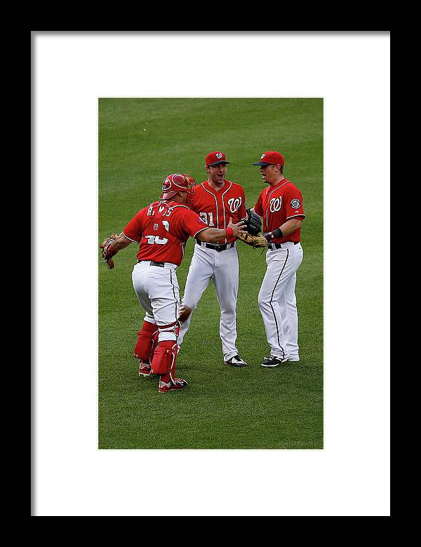 People Framed Print featuring the photograph Wilson Ramos, Max Scherzer, And Tyler Moore by Rob Carr