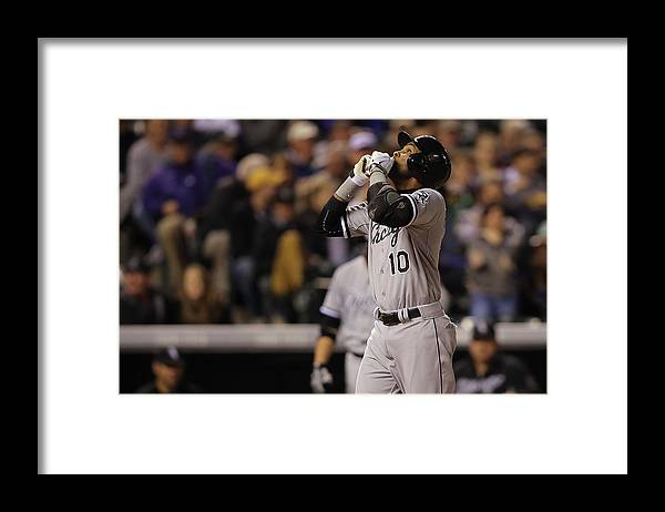 American League Baseball Framed Print featuring the photograph Wilton Lopez and Alexei Ramirez by Doug Pensinger