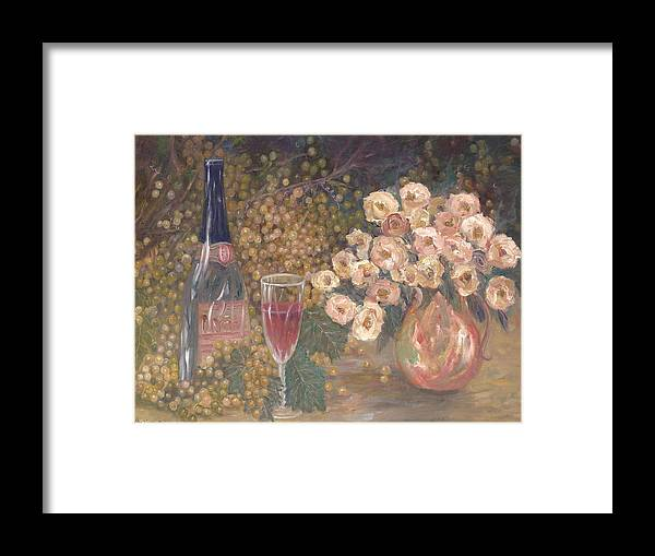 Stilllife; Floral; Wine Framed Print featuring the painting Wine And Roses by Ben Kiger
