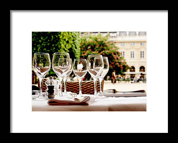 Empty Framed Print featuring the photograph Wineglasses and table setting by Nadia Draoui