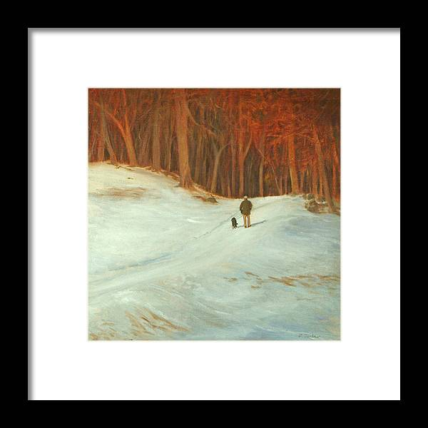 Landscape Framed Print featuring the painting Winter Walk with Dog by Phyllis Tarlow