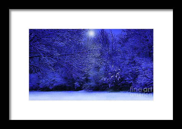 Landscape Framed Print featuring the photograph Wintry Moonlight by Cedric Hampton