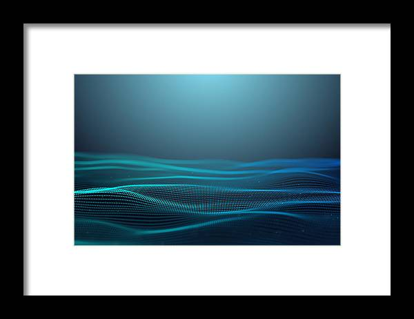 Internet Framed Print featuring the photograph wire frame shape abstract background,Futuristic digital background for Business Science and technology,Blue Background concept by MR.Cole_Photographer
